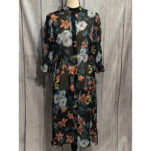 Zara Basic Floral Sheer Button Down Dress Small
